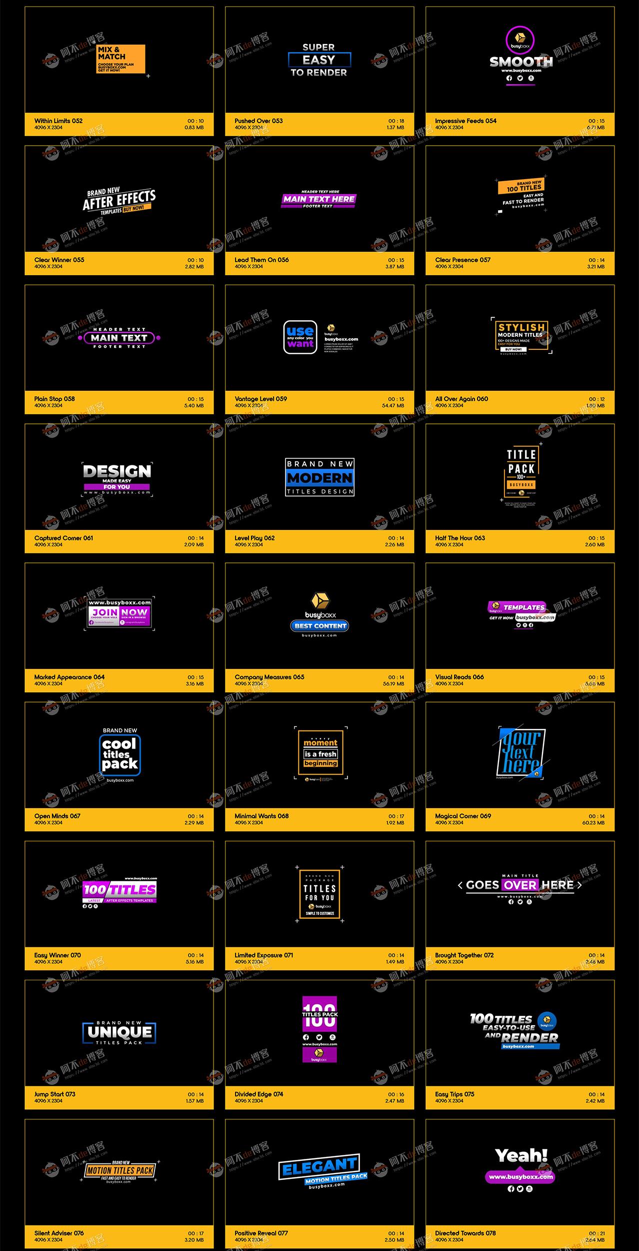 视频素材 BusyBoxx V05 Modern Titles 100组现代简约动感标题预设含AE工程特效合成素材插图2