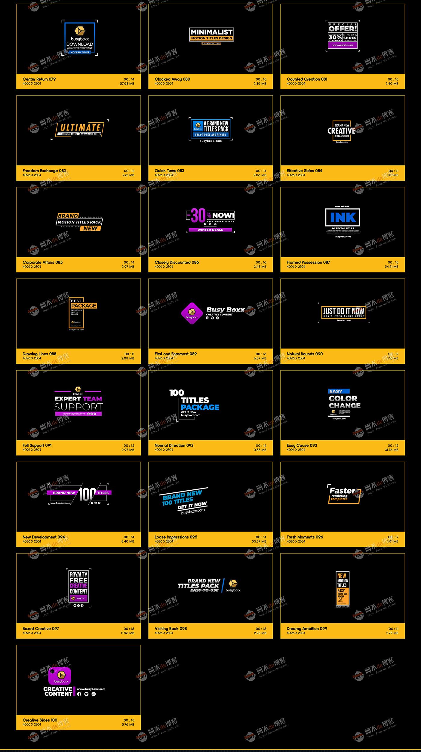 视频素材 BusyBoxx V05 Modern Titles 100组现代简约动感标题预设含AE工程特效合成素材插图3