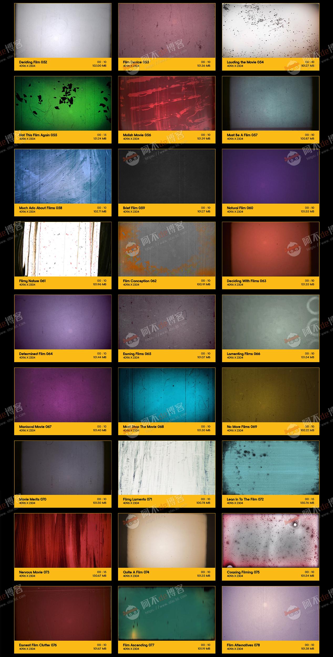 视频素材 BusyBoxx V10 Film Clutter 209组复古怀旧老电影胶片灼烧刮痕污渍噪波动画 特效合成素材插图2
