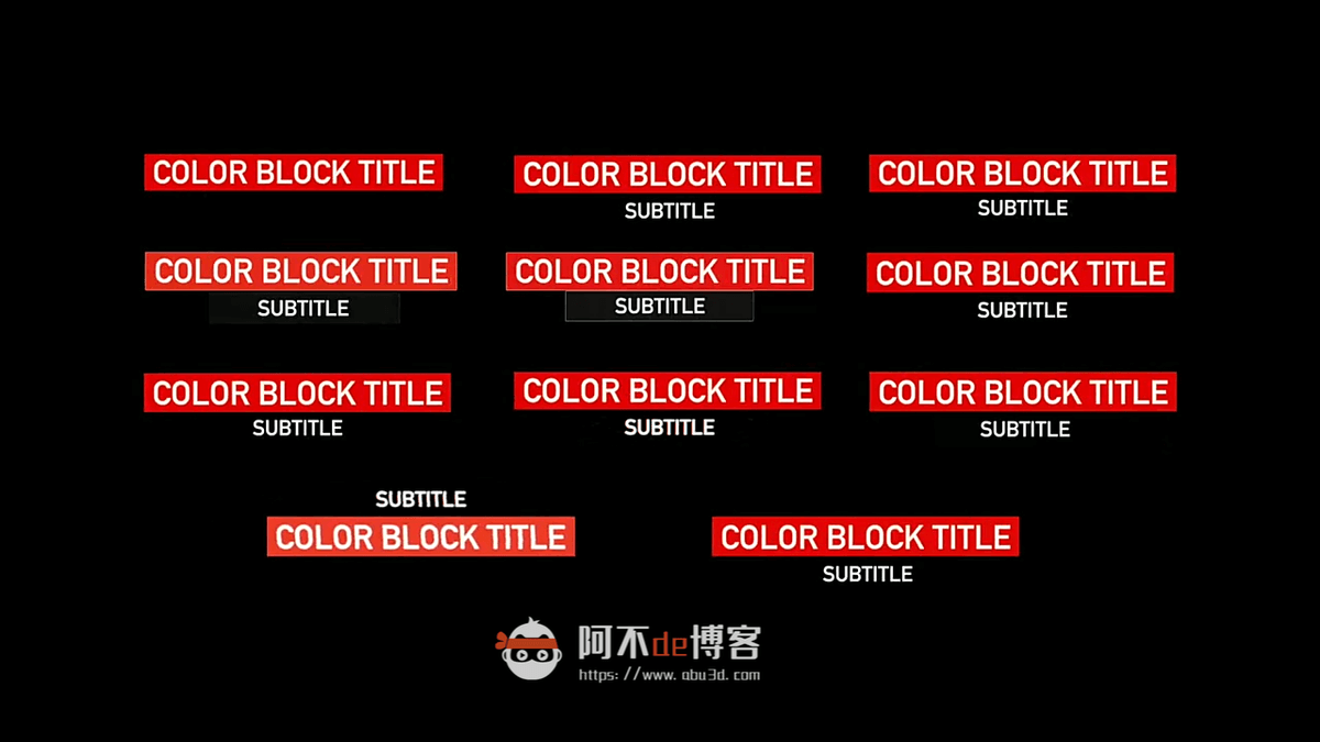FCPX插件-色块标题16个动态文字动画预设Block Titles插图