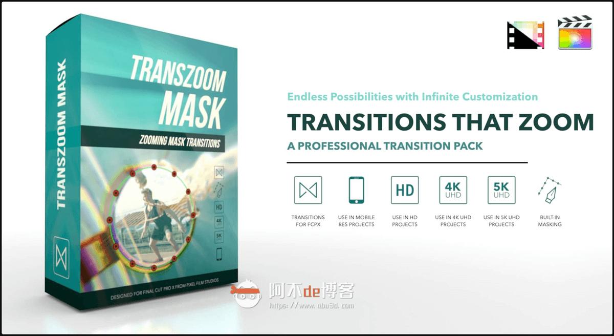 FCPX转场插件 可自定义绘制缩放遮罩无缝过渡转场效果预设 TransZoom Mask插图