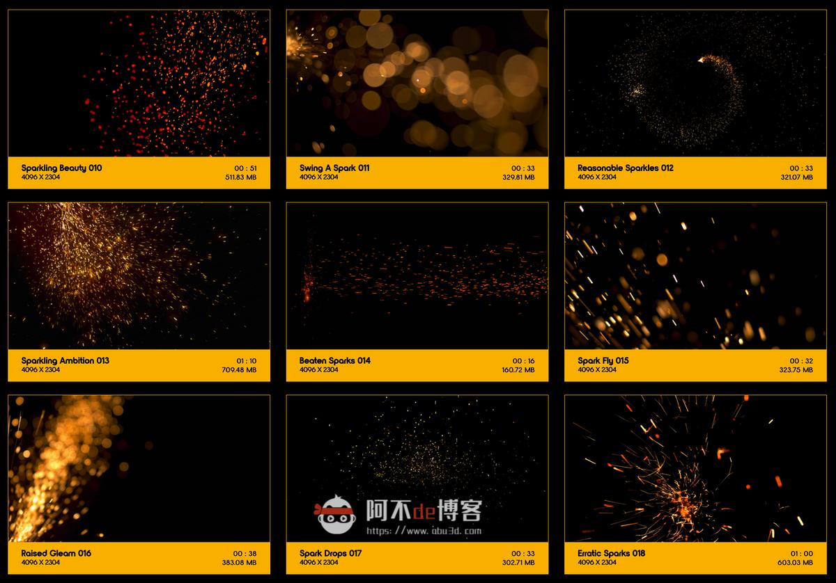视频素材 BusyBoxx V04 Sizzling Sparks 102组火星飞溅发光火花粒子动画特效合成素材插图1