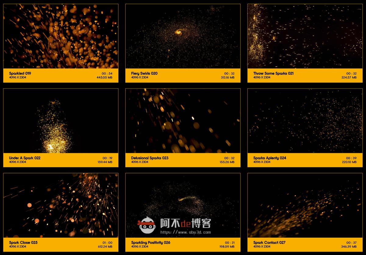 视频素材 BusyBoxx V04 Sizzling Sparks 102组火星飞溅发光火花粒子动画特效合成素材插图2