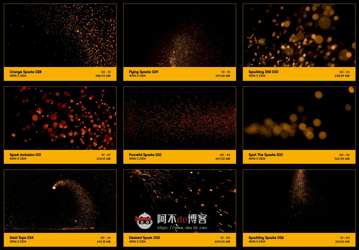 视频素材 BusyBoxx V04 Sizzling Sparks 102组火星飞溅发光火花粒子动画特效合成素材插图3