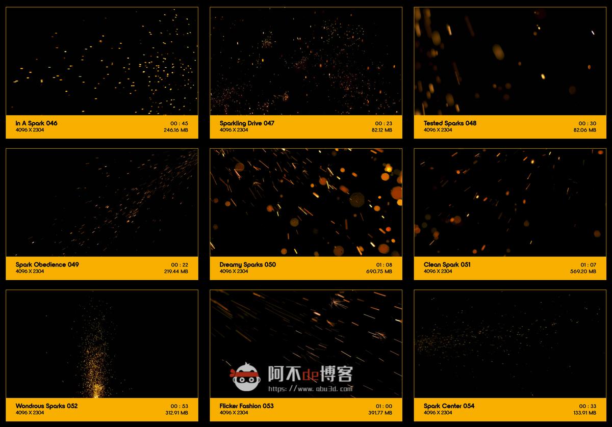 视频素材 BusyBoxx V04 Sizzling Sparks 102组火星飞溅发光火花粒子动画特效合成素材插图5