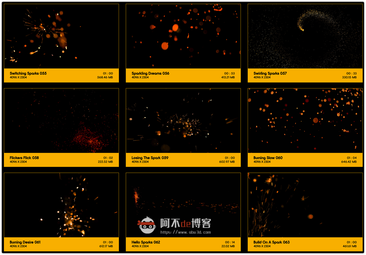视频素材 BusyBoxx V04 Sizzling Sparks 102组火星飞溅发光火花粒子动画特效合成素材插图6