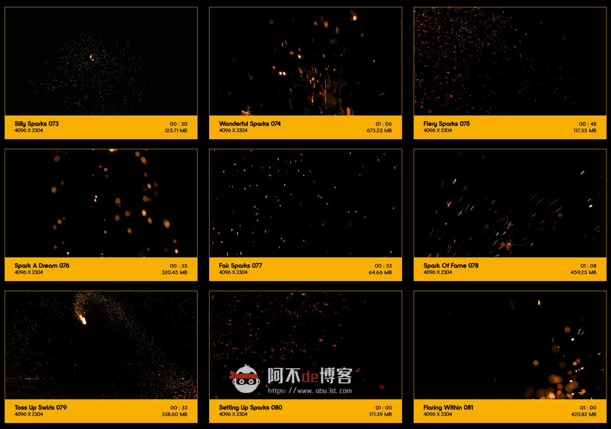 视频素材 BusyBoxx V04 Sizzling Sparks 102组火星飞溅发光火花粒子动画特效合成素材插图8