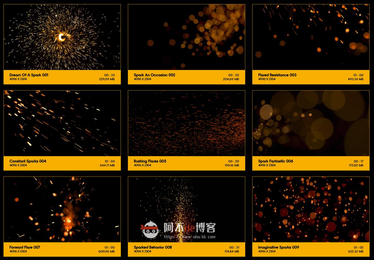 视频素材 BusyBoxx V04 Sizzling Sparks 102组火星飞溅发光火花粒子动画特效合成素材插图