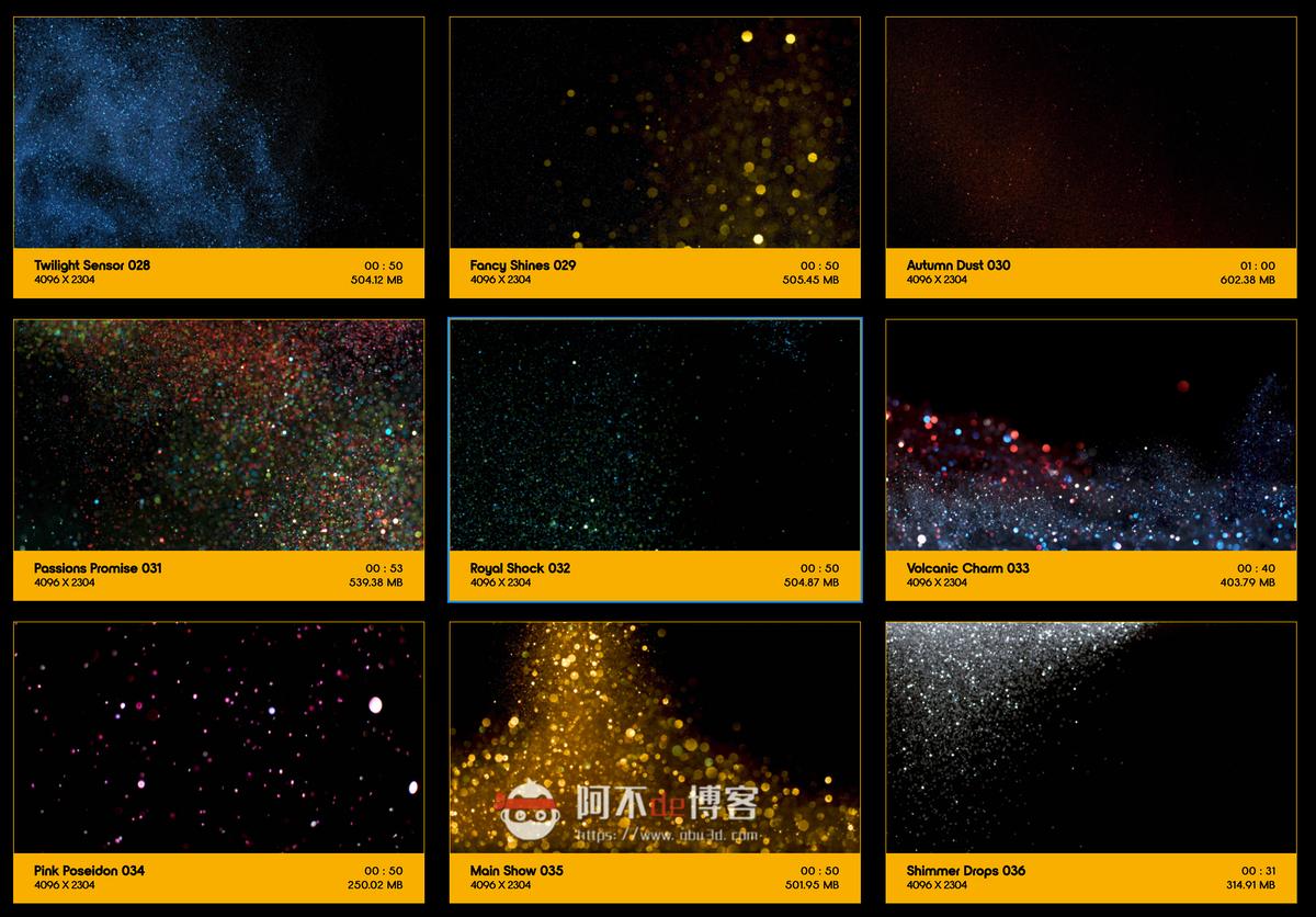 视频素材 BusyBoxx V09 Glitter Glitz 104组华丽闪耀发光金粉粒子动画 特效合成素材插图3