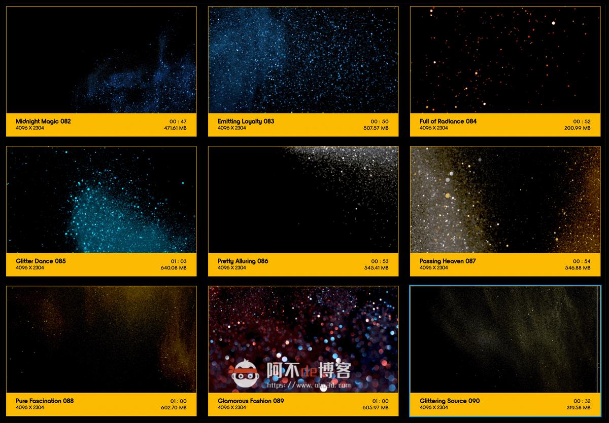 视频素材 BusyBoxx V09 Glitter Glitz 104组华丽闪耀发光金粉粒子动画 特效合成素材插图9