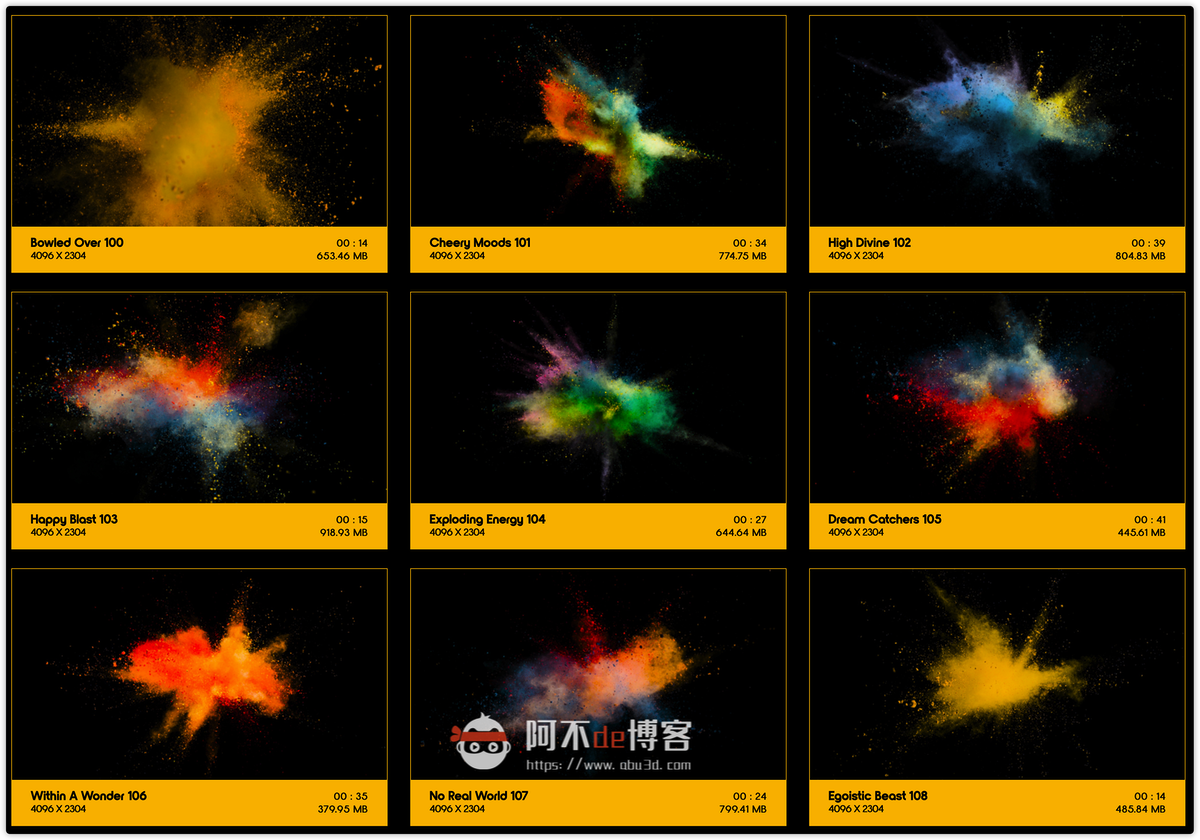 视频素材 BusyBoxx V08 Powder Explosions 108组彩色粉末慢动作爆炸飞散动画 特效合成素材插图8