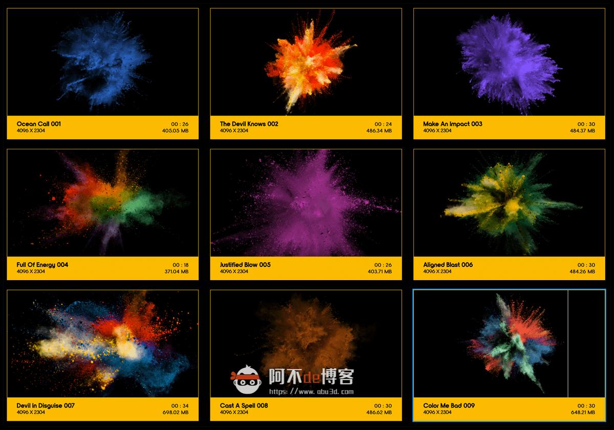 视频素材 BusyBoxx V08 Powder Explosions 108组彩色粉末慢动作爆炸飞散动画 特效合成素材插图